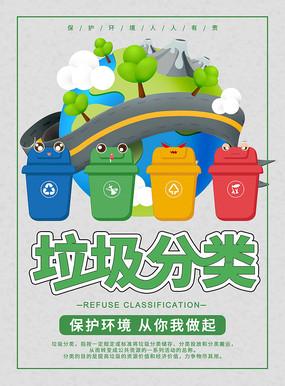 简约背景垃圾分类宣传海报