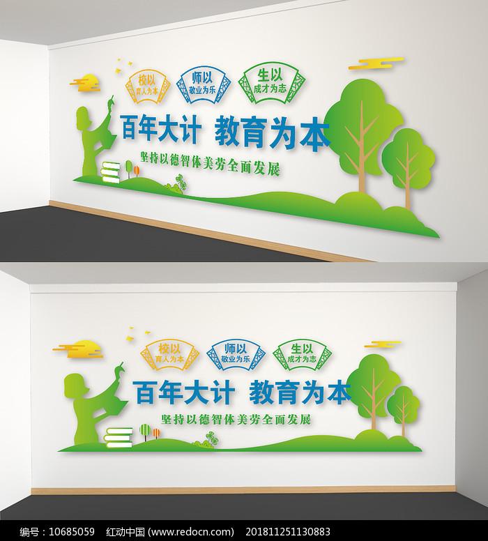 绿色卡通校园文化墙百年大计背景雕刻展板图片