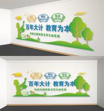 绿色卡通校园文化墙百年大计背景雕刻展板