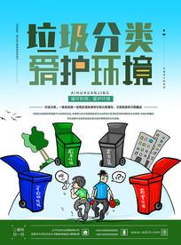 原创绿色漫画垃圾分类海报