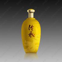 传承酒黄色酒瓶分层效果图