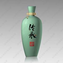 传承酒青瓷酒瓶分层效果图
