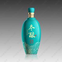 冬韵酒蓝绿色酒瓶效果图