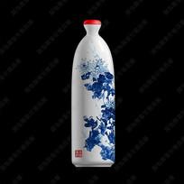 菊花白瓷酒瓶效果图