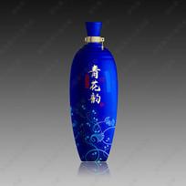 蓝色青花酒瓶效果图