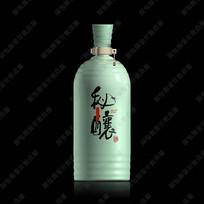 秘酿酒青瓷酒瓶分层效果图