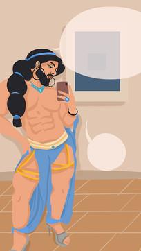 原创六块腹肌的男人插画手绘