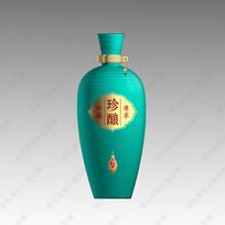珍酿酒蓝绿色酒瓶分层效果图