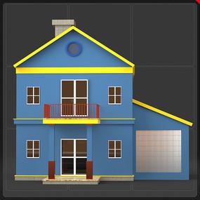 卡通画二层小别墅小楼房