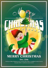 卡通圣诞小人节日宣传海报模板