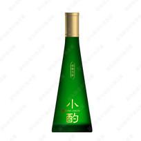小酌酒绿色酒瓶效果图 PSD