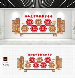 中式学校食堂文化墙员工餐厅文化墙-