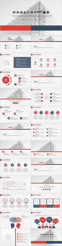红色大气时尚创业计划书PPT模板