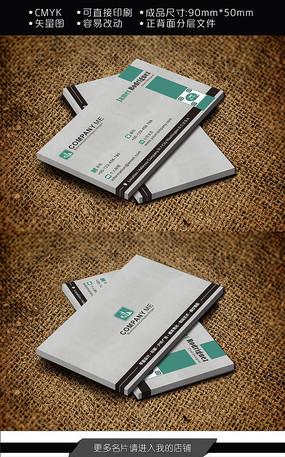 绿色简约科技公司环保公司名片设计 CDR