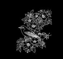 动物植物鸟花雕刻图案CAD线稿素材 dwg