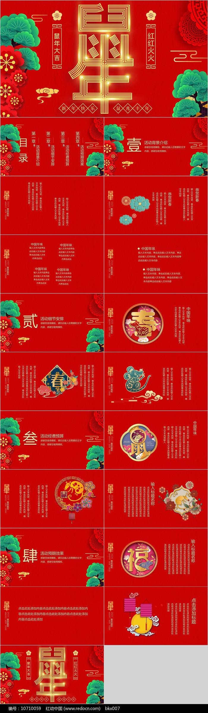 红色鼠年大吉活动策划PPT模板图片