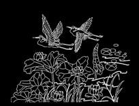 鸟语花香荷花鸟植物CAD线稿素材