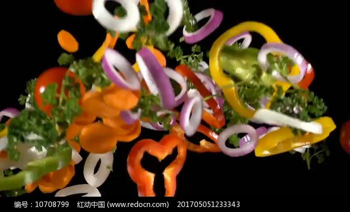 蔬菜食材飞起落下实拍视频素材图片