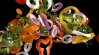 蔬菜食材飞起落下实拍视频素材