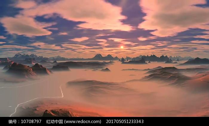 壮美山峰云雾霞光视频素材图片