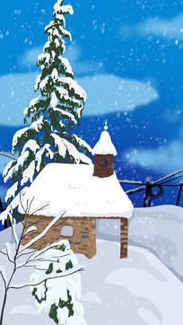 手绘冬天雪景房子松树背景插画