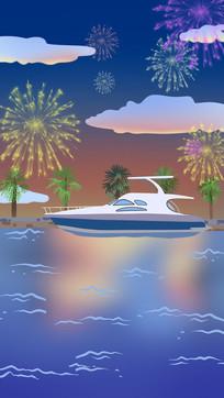 手绘放烟花在海上的游艇背景插画
