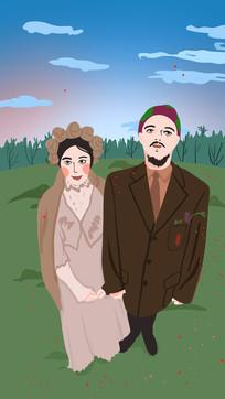 手绘结婚夫妻在公园拍照背景插画