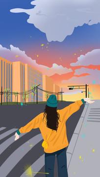 手绘女生在街头挥手的背影背景插画