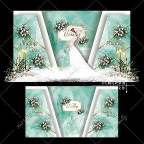 白绿色水彩梦幻婚礼效果图设计婚庆舞台背景