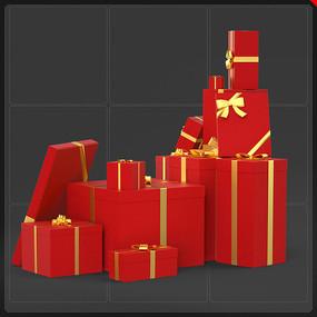 电商网商礼品盒堆元素圣诞节 PNG