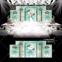 蒂芙尼蓝主题婚礼效果图设计婚庆舞台背景 PSD