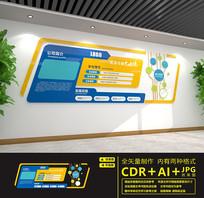 蓝色大气企业文化墙设计