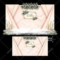 香槟色主题婚礼欧式复古婚庆舞台背景设计 PSD
