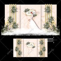香槟色主题婚礼效果图设计简约复古婚庆舞台 PSD