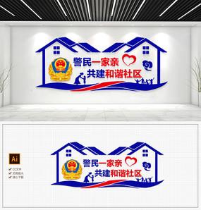 原创蓝色警营屋檐公安社区走廊形象墙