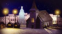 冬季下雪温馨小屋子视频素材