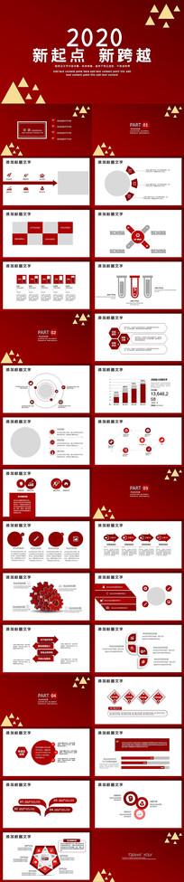 红色2020年新跨越PPT模板