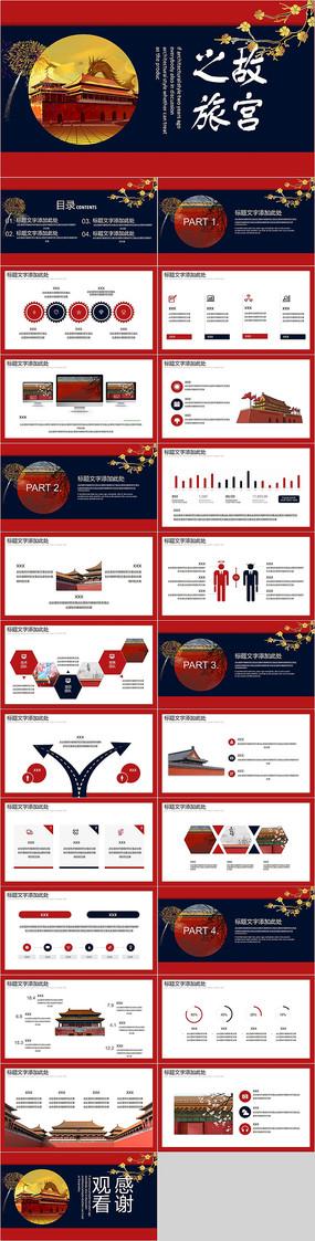 红色故宫旅游PPT模板