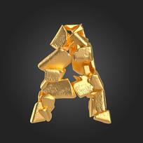 金石质感立体字母A