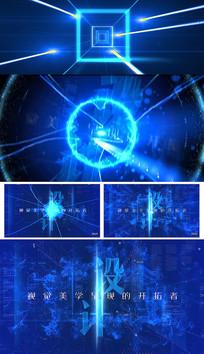 科技片头片花结尾落版AE模板