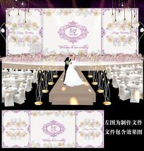 浪漫浅紫色花卉婚礼背景
