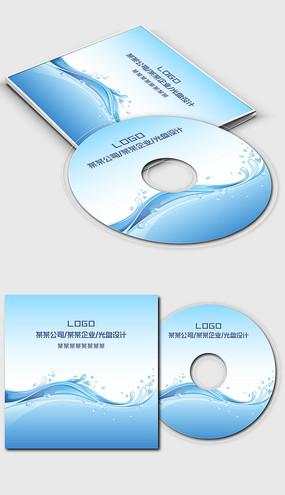 蓝色波浪浪花公司企业单位光盘封面设计