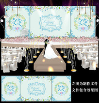 时尚蓝色婚礼背景设计