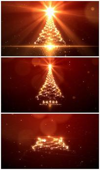 唯美金色红色圣诞树logo视频模板