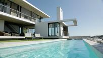 现代建筑游泳池视频素材