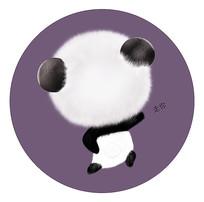 原创手绘可爱卡通搞怪熊猫走你