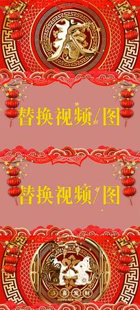 大气鼠年春节金色字体拜年框AE模板