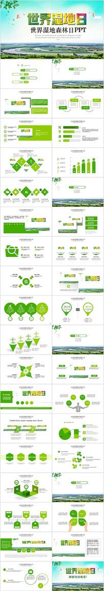 绿色环保世界湿地森林日PPT模板