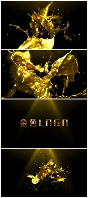 震撼金色粒子凝聚logo