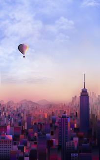 原创紫色纽约城市建筑插画 PSD
